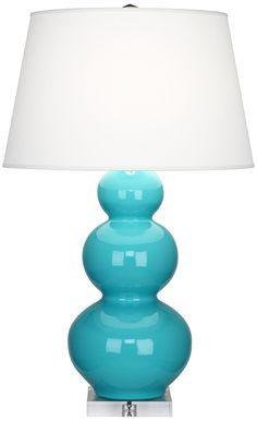 Robert Abbey Robin Egg Blue Triple Gourd Ceramic Buffet Lamp -