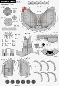 Millennium Falcon Page 7 of 8 Star Wars Origami, Paper Airplane Models, Paper Models, Model Airplanes, Star Wars Ships, Star Wars Art, Nave Star Wars, Cardboard Model, Star Wars Crafts