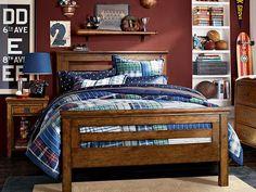 boys bedroom ideas ~ like the subway art & cinnamon wall color ~ pbteen.com ~ Oxford Hamilton Bedroom
