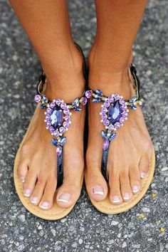 Why not try enhancing your foot beauty with jeweled fashionable flat footwear