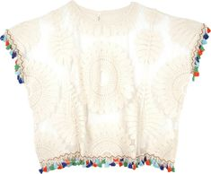 Embroidered Lace White Top with Boho Tassels TLB (Bohemian) Bohemian Chic White Layering Top - A see-through mesh top of delicate floral lace features a boxy shape that is perfect for layering Boho, Bohemian Style, Scarf Shirt, Tunic Shirt, Morning Dress, Hippie Look, Floral Lace, Pastel Floral, Layered Tops