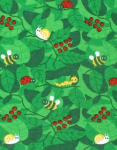 Green T-shirt with bugprint and red finish - Mus 4 kids
