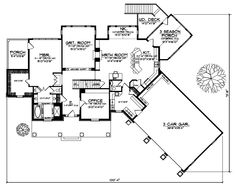 Country Style House Plans - 3495 Square Foot Home , 2 Story, 4 Bedroom and 3 Bath, 3 Garage Stalls by Monster House Plans - Plan 7-580