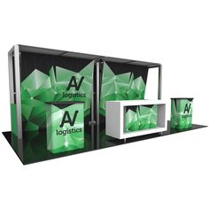 """224.38""""w x 94.5""""h x 43.25""""d aluminum extrusion frame 6 x push-fit fabric graphic panels 8 x rigid graphic panels 2 x Velcro sheer fabric panels top 1 x SCRATE"""