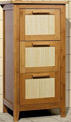 Unterschrank Badezimmermöbel Massivholz Badezimmer-Schrank mit 3 Schubladen Bambus massiv Badmöbel