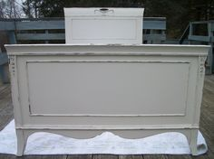 Antique Ornate painted bed frame ~ foot board & slats. Creamy white Shabby French Antique painted bed frame