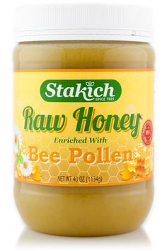 Stakich Bee Pollen enriched Raw Honey consists of pure Kosher certified Raw Honey enriched with all natural Bee Pollen.  It is 100% all natural, unheated, unprocessed and unfiltered. We make every effort to ensure that all of its naturally occurring enzymes, amino acids, vitamins and minerals are fully preserved. The beehives are kept in unsprayed and pesticide-free fields in rural Michigan, allowing honey bees to collect only the finest nectar from wildflowers.
