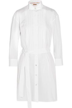 White cotton-poplin Partially concealed button fastenings through front 100% cotton Dry clean  Made in Italy