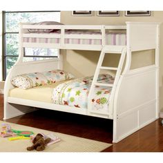 This standard bunk bed features fun, curved twist to stand out from the rest. The bright white finish draws attention to the curved headboard and footboard design while the attached ladder helps secure the top twin and bottom full bunk design.