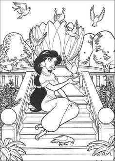 aladdin coloring pages beautiful jasmine - Printable Drawings For Kids