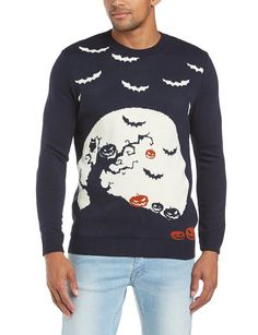 Run & Fly Unisex Halloween Scene Crew Neck Jumper, Multicoloured, Medium Halloween Jumper, Halloween Mode, Halloween Scene, Halloween Fashion, Christmas Fashion, Halloween Outfits, Christmas Ootd, Halloween Clothes, Halloween Witches