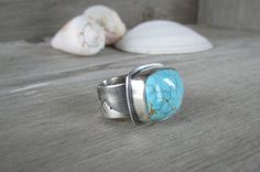 Natural Number 8 Mine Turquoise Sterling Silver Ring. Wide Landscape Inspired Silver Band. Beautiful Turquoise Wed Matrix. US Size 7 by QuietTimeJewelry on Etsy