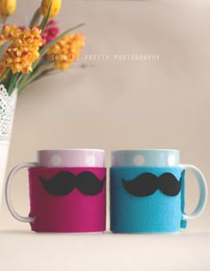 Mr. and Mrs. Mustache > Cozy mugs, a very simple yet funny gift/diy project you can make for a friend, for yourself of for your kids (small tip: photograph your kids while they are drinking out of the mug and i'm sure they will have lot's of fun seeing the photographs in which it looks like they have a mustache)