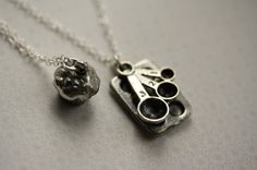 Cupcake Baking Necklace Duo, Baking Jewelry, Sterling Silver Chains, Measuring Spoons and Cupcake, Mother's Double Necklace. $42.00, via Etsy.
