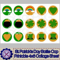 St. Patrick's Day Bottle Cap Collage Printable 4x6 Sheet - $1.00 : ScrapPNG, Digital Craft Graphics
