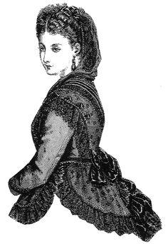 1870 Black Figured Lace Fichu with Hood Pattern