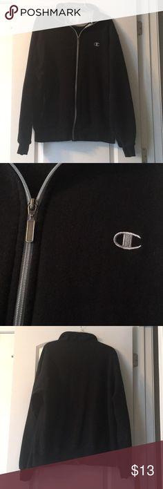 Champion Black Jacket Men's black Champion zip up jacket. 80% cotton, 20% polyester. Size large. Champion Jackets & Coats