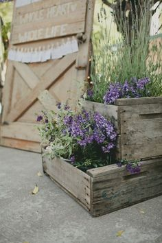 I adore these crates filled with plants- super rustic but of course thrifty. Lavender at weddings inspiration | Wedding Tattle – UK Wedding Blog For The Thrifty Bride