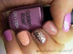 gorgeous! Glitter, purple, and peach! nails
