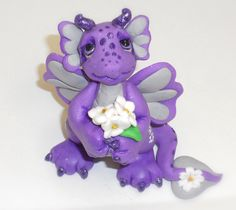 """Adorable polymer clay baby dragon """"Daisie"""" by WOODLANDCRITTERS on Etsy"""