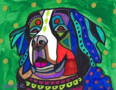 Bernese Mountain Dog Art PRINT of Painting Poster Modern Art Colorful Dogs Gift