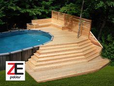 Grand deck de piscine en cèdre Deck, Outdoor Decor, Pools, Images, Home Decor, Courtyards, Piscine Hors Sol, Room, Searching