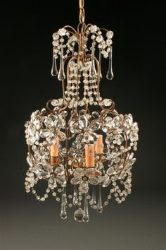 19th Century Italian three arm iron and crystal antique chandelier, basket with flowers. #antique #chandelier #crystal #iron