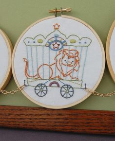 View 3. Hand Embroidery Pattern Set Il Circo Circus Train Patterns  $6.00 Approx £3.90.