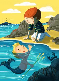 Charlene Chua is an illustrator based in Hamilton/Toronto, Canada. She creates artwork and illustrations for children and kids at heart. Beach Illustration, Mermaid Illustration, Children's Book Illustration, Character Illustration, Watercolor Illustration, Mermaid Boy, Mermaid Beach, Mermaids And Mermen, Heart For Kids