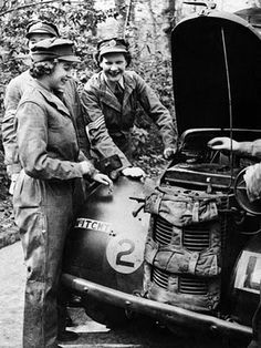 Queen Elizabeth in April, 1945, training as a mechanic during World War II, when she was attached to the Auxiliary Territorial Service.