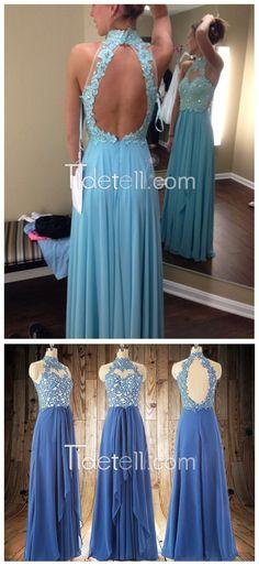 prom dress, 2016 prom dress, high-neck long chiffon prom dress, backless prom dress