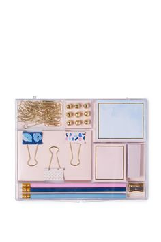 """Your one stop stationery shop! Well set… But seriously it's got it all. <br> The stationery set includes: paper clips, pins, sticky notes, binder clips, pencils and a sharpener. <br /> <br /> FEATURES & BENEFITS<br /> • Various styles available<br /> • So many uses<br /> • Designed in house<br /><br /> <br /> Dimensions: 21.5cm x 17cm x 2.7cm/ 8.46"""" x 6.69"""" x 1.06""""<..."""