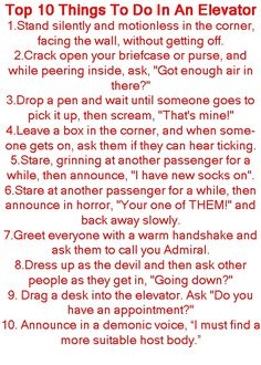 Things To Do in an Elevator
