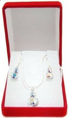 Amazon.com: Swarovski Crystal Snowman Necklace & Earring Set in Sterling Silver, Gift-Boxed: Jewelry