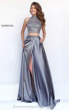 Silver Sherri Hill 11330 Keyhole Sexy Slit Prom Dress Long