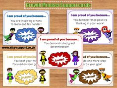Growth Mindset Support cards - Great visual mindset cards to acknowledge positive behaviour - highly recommended for teachers to use with students.