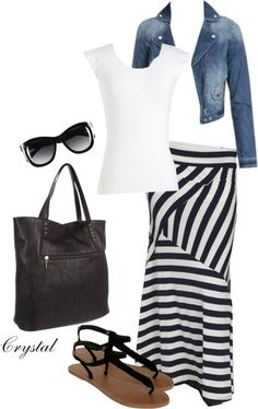 """Striped Maxi Skirt"" by tcjnblanton on Polyvore"
