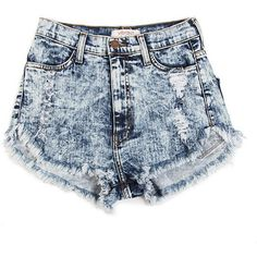High Waisted Denim Shorts - 80s Acid Wash ($40) ❤ liked on Polyvore featuring shorts, bottoms, short, pants, high rise shorts, short jean shorts, high rise jean shorts, high-waisted shorts and highwaisted shorts