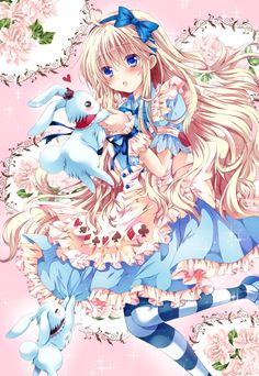 ✮ ANIME ART ✮ Alice in Wonderland. . .Alice . .White Rabbit. . .long hair. . .hair bow. . .apron. . .poker suit print. . .striped socks. . .cute. . .kawaii