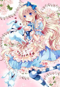 ✮ ANIME ART ✮ Alice in Wonderland. . .Alice . .White Rabbit. . .long hair. . .hair bow. . .apron. . .poker suit print. . .striped socks. . .cute. . .kawaii