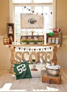 A Vintage Football Party - Packers Football Viewing Party - Anders Ruff Custom Designs, LLC Football Banquet, Football Themes, Football Parties, Packers Football, Football Party Decorations, Football Fever, Football Candy Table, Football Desserts, Oregon Football