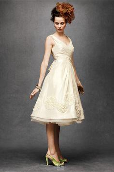 Ivory A-line V-neck Satin Hand Made Flower Knee-length Wedding Dress