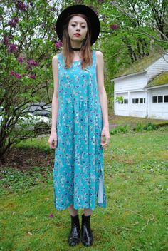 f14413c4273 Vintage 90s Appleseed s Teal Turquoise Floral Bohemian Boho Dress Size  Medium Large