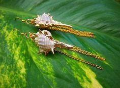 hawaiian jewelry shell earrings gold by jaidith on Etsy, $10.00