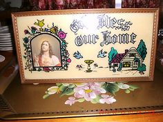 Vintage Religious Picture God Bless Our Home