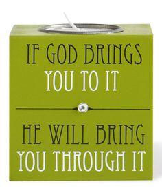 Look at this #zulilyfind! Green 'If God Brings You' Tea Light Holder #zulilyfinds
