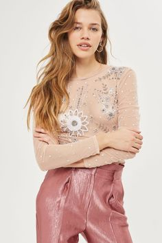 Long Sleeve Pearl Embellished Body - New In Fashion - New In - Topshop