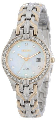 Seiko Womens SUT084 Excelsior Solar Swarovski Crystals Japanese Quartz Watch -- You can find out more details at the link of the image.
