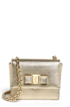 $795, Gold Leather Crossbody Bag: Salvatore Ferragamo Ginny Mini Leather Crossbody Bag. Sold by Nordstrom. Click for more info: https://lookastic.com/women/shop_items/113120/redirect