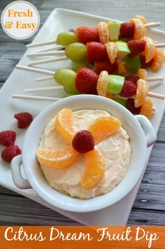 Citrus Dream Fruit Dip with Fruit Skewers: Perfect for holiday brunch  #HalosFun #sponsored
